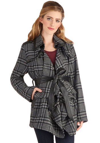 Take Sydney by Storm Coat - Long, Faux Leather, 2, Black, Houndstooth, Pockets, Belted, Urban, Steampunk, Long Sleeve, Good, Collared, Black, Long Sleeve, Grey, Gifts Sale, Winter