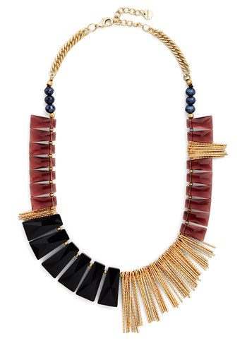 Multifaceted Fame Necklace - Solid, Beads, Statement, Gold, Best, Red, Black, Gold