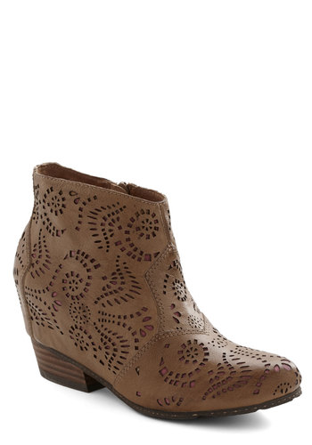 Notable in Nashville Bootie - Low, Leather, Tan, Solid, Cutout, Best