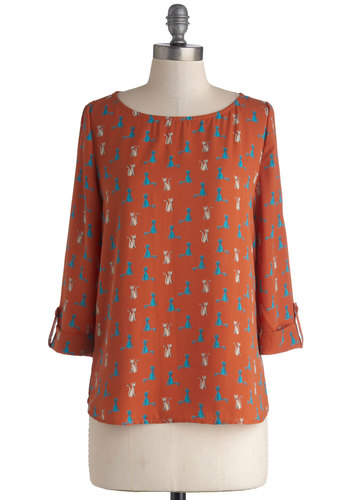 Kitten Pretty Top - Woven, Chiffon, Orange, Print with Animals, Quirky, Cats, Long Sleeve, Good, Scoop, Orange, Tab Sleeve, Blue, Tan / Cream, Mid-length, Critters