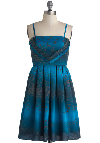 Soar Look Swell Dress - Blue, Black, Print with Animals, Pleats, Party, A-line, Better, Woven, Mid-length, Satin, Spaghetti Straps