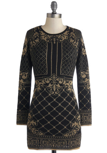 Sensational Sight Dress - Black, Gold, Print, Casual, Sweater Dress, Long Sleeve, Better, Crew, Knit, Short, Winter