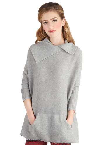 A Chilly Treat Sweater - Grey, Solid, Better, Mid-length, Knit, Pockets, Casual, Rustic, Collared, Grey, 3/4 Sleeve, 3/4 Sleeve