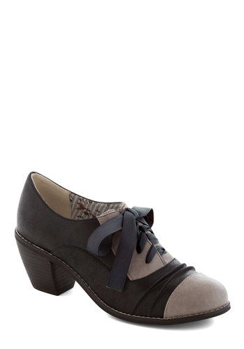 Earnest to Goodness Heel - Black, Grey, Lace Up, Mid, Leather, Faux Leather, Solid, Work, Better, Top Rated