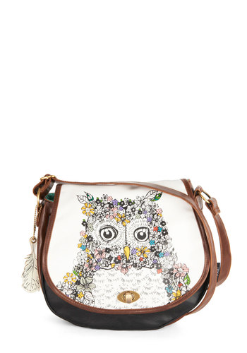 Once and Fleur Owl Bag by Disaster Designs - Cream, Brown, Multi, Print with Animals, Owls, Folk Art, Better, International Designer, Faux Leather, Statement, Boho