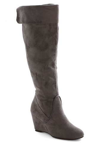 Gastropub Crawl Boot - Mid, Faux Leather, Grey, Solid, Wedge, Good