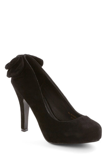 Standout Ovation Heel in Black - High, Faux Leather, Black, Solid, Bows, Special Occasion, Party, Cocktail, Girls Night Out, Holiday Party, Good, Variation