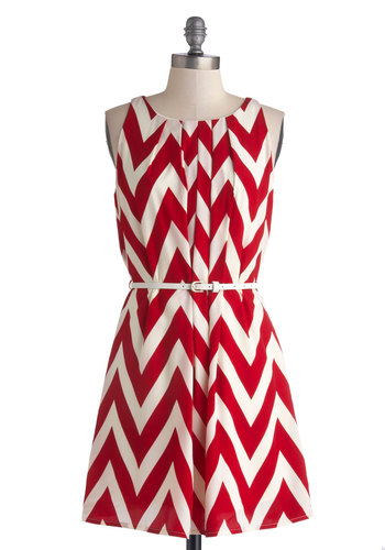 Great Wavelengths Dress in Red - Red, Chevron, Belted, Casual, A-line, Sleeveless, Good, Woven, White, Pleats, Variation, Scoop, Gifts Sale