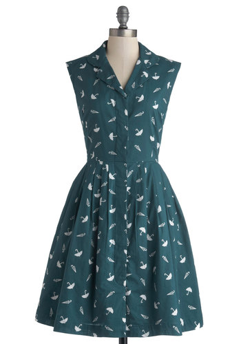 Bake Shop Browsing Dress in Umbrellas by Emily and Fin - Green, White, Novelty Print, Buttons, Casual, A-line, Sleeveless, Better, International Designer, Collared, Cotton, Woven, Mid-length, Pockets, Vintage Inspired, 50s, Shirt Dress, Variation, Gifts Sale