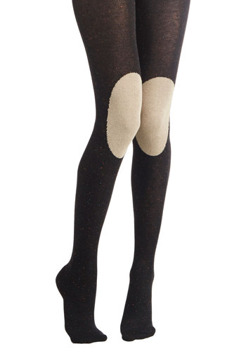 Knee-d to Know Tights in Black by Hansel from Basel - Black, Solid, Vintage Inspired, 70s, Variation, Knit, Tan / Cream, Patch, Scholastic/Collegiate, Fall, Winter, Sheer