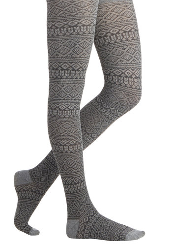 Steps in the Right Direction Tights - Grey, Print, Fall, Winter, Better, Knit, Black