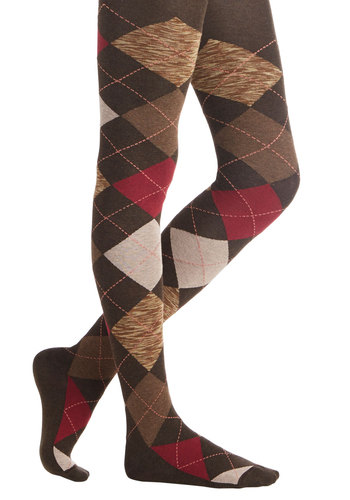 All the While Tights - Brown, Red, Tan / Cream, Argyle, Scholastic/Collegiate, Better, Knit