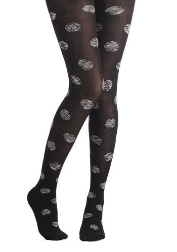 Cause and Domino Effect Tights - Black, White, Polka Dots, Better, Knit, Boho, Darling, Nifty Nerd, Festival