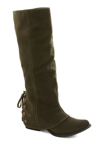 Quill We Meet Again Boot - Green, Solid, Better, Lace Up, Low, Leather, Suede