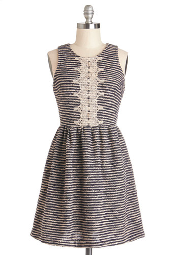 Featured Writer Dress - Knit, Tan / Cream, Black, Stripes, Crochet, Exposed zipper, Casual, Tank top (2 thick straps), Scoop