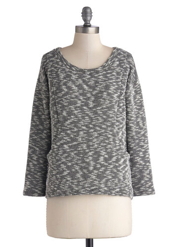 Reading Look Sweater - Mid-length, Knit, Grey, Long Sleeve, Good, Grey, Long Sleeve, Pockets, Scoop