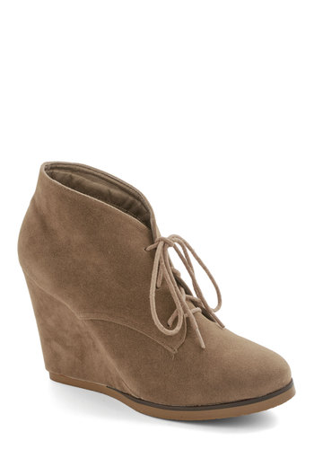 Nicely Spiced Bootie in Chai - Mid, Faux Leather, Solid, Menswear Inspired, Good, Wedge, Tan, Minimal, Lace Up, Variation, Festival, Boho