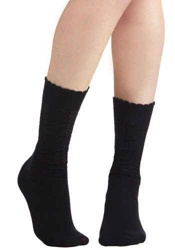 Flit One, Purl Two Socks - Black, Solid, Scallops, Good, Variation, Basic, Knit