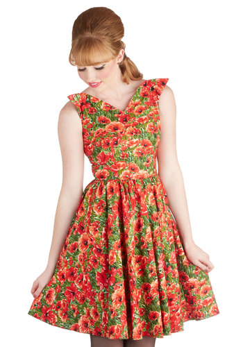 Wizard of Awesome Dress by Bernie Dexter - Red, Floral, Vintage Inspired, 50s, Sleeveless, Spring, Green, Daytime Party, Fit & Flare, V Neck, Pinup, Exclusives, Top Rated, Gifts Sale