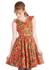 Wizard of Awesome Dress by Bernie Dexter - Red, Floral, Vintage Inspired, 50s, Sleeveless, Spring, Green, Daytime Party, Fit & Flare, V Neck, Pinup, Exclusives, Gifts Sale