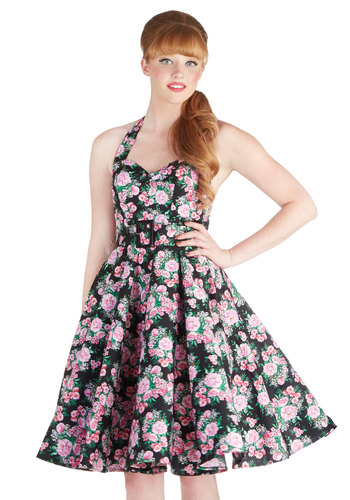 Enchanted Afternoon Dress in Mums - Green, Floral, A-line, Halter, 50s, Spring, Summer, Multi, Pink, Black, White, Show On Featured Sale, Rockabilly, Pinup, Fit & Flare, Belted, Cotton, Daytime Party, Best Seller, Sweetheart, Mid-length, Valentine's, Gifts Sale, Top Rated, Sundress
