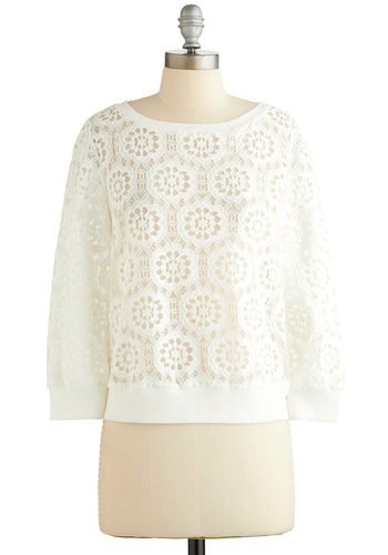 Gotta Flurry Sweater by BB Dakota - White, Lace, Long Sleeve, Better, White, Long Sleeve, Solid, Casual, Sheer, Knit, Short, Woven, Lace