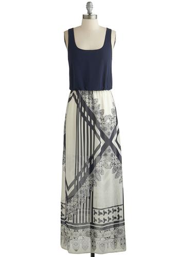 Get Geared Up Dress - Blue, Tan / Cream, Print, Casual, Maxi, Racerback, Good, Scoop, Chiffon, Sheer, Woven, Long, Beach/Resort
