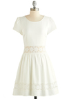 Cloud Sourcing Dress - Sheer, Woven, Mid-length, White, Solid, Crochet, Casual, A-line, Short Sleeves, Better, Scoop, Pockets, Sundress
