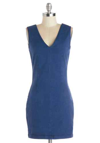 One-Woman Showcase Dress - Blue, Solid, Exposed zipper, Casual, Minimal, Shift, Sleeveless, V Neck, Short, Denim, Woven