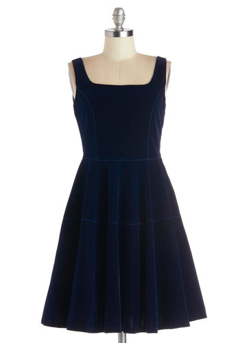 Well Versed in Velvet Dress by Kling - Blue, Solid, Party, Minimal, A-line, Tank top (2 thick straps), Better, Woven, Mid-length, Fit & Flare