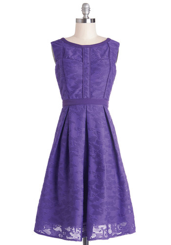 Amethyst Is Us Dress by Pink Martini - Purple, Solid, Pleats, Party, A-line, Better, Sheer, Knit, Long, Daytime Party, Sleeveless