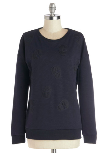 Nooks and Craniums Sweater - Cotton, Knit, Mid-length, Blue, Patch, Skulls, Long Sleeve, Better, Blue, Long Sleeve, Casual