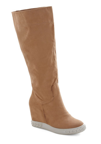 Fawn the Move Boots - Mid, Faux Leather, Tan, Solid, Good, Wedge