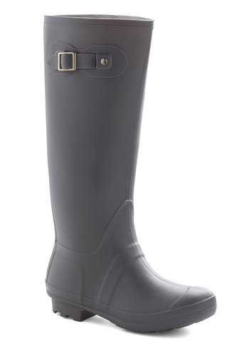 Puddle to the Metal Rain Boot - Low, Grey, Solid, Buckles, Good, Spring
