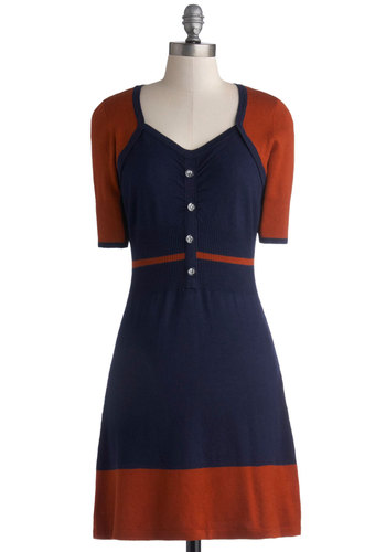 Jubilant Arrival Dress by Kling - Blue, Orange, Buttons, Work, Colorblocking, Short Sleeves, Knit, Mid-length, Better, Fall
