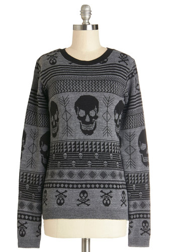 Snuggle after Skull Sweater - Grey, Novelty Print, Casual, Skulls, Long Sleeve, Better, Grey, Long Sleeve, Crew, Knit, Mid-length, Winter
