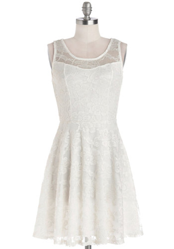 No Business Like Snow Business Dress - Sheer, Knit, Mid-length, White, Solid, Lace, Party, A-line, Sleeveless, Good, Scoop, Graduation, Wedding, Bride, Lace