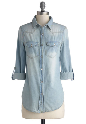 Whidbey Island Top in Daybreak - Cotton, Woven, Denim, Blue, Solid, Buttons, Pockets, Casual, Long Sleeve, Good, Blue, Tab Sleeve, Variation, Rustic, Collared, Mid-length, Social Placements, Top Rated, Summer, Fall