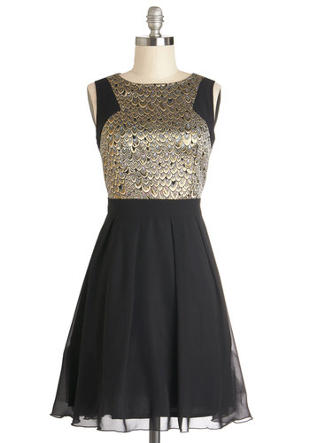 Address to Impress Dress - Black, Gold, Pleats, Holiday Party, A-line, Sleeveless, Better, Chiffon, Woven, Animal Print, Exposed zipper, Party, Prom