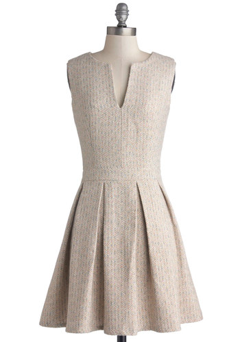 Seminar in Style Dress - Tan, Pleats, A-line, Sleeveless, Better, Woven, Mid-length, Multi, Work