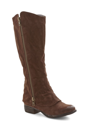 Archery Date Boot - Low, Faux Leather, Brown, Solid, Exposed zipper, Good, Fall