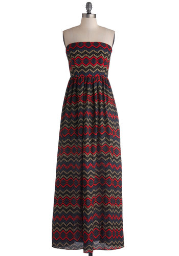 Ibiza Yourself Dress - Print, Casual, Maxi, Strapless, Good, Woven, Long, Multi