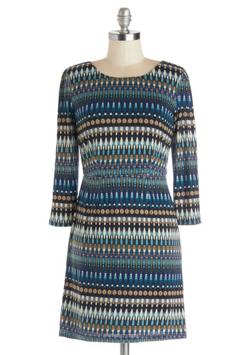 Textile Museum Tour Dress - Print, Casual, 3/4 Sleeve, Good, Scoop, Knit, Short, Multi, Shift