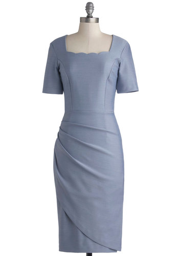 Natural Nominee Dress - Knit, Long, Blue, Solid, Ruching, Daytime Party, Bridesmaid, Sheath / Shift, Short Sleeves, Best, Wedding