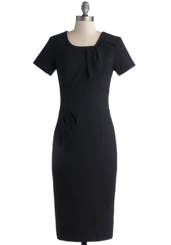 Film Correspondent Dress - Woven, Black, Solid, Work, Shift, Short Sleeves, Better, Long
