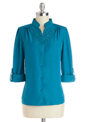 Everything is Heirloom-inated Top in Teal by Myrtlewood - Woven, Mid-length, Blue, Solid, Buttons, Work, Better, Exclusives, Variation, Blue, Tab Sleeve, Embroidery, Long Sleeve, Private Label, Spring