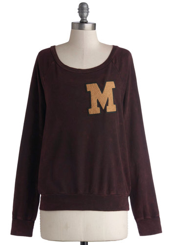 Varsity Slick Sweatshirt - Cotton, Knit, Mid-length, Solid, Casual, Long Sleeve, Better, Long Sleeve, Patch, Scholastic/Collegiate, Scoop, Black, Black