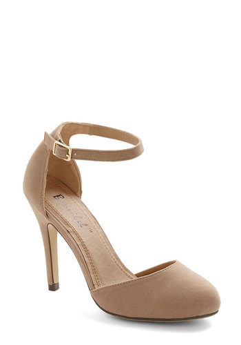 Dinner and Dancing Heel in Camel - High, Faux Leather, Solid, Good, Tan