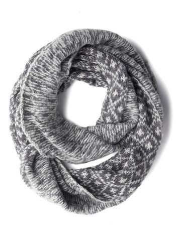 Casting Call It a Day Circle Scarf in Grey by Wooden Ships - Grey, White, Print, Fall, Winter, Best, Knit, Variation