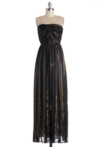Sateen Goldmine Dress - Black, Gold, Stripes, Special Occasion, Holiday Party, Maxi, Strapless, Better, Woven, Long, Luxe